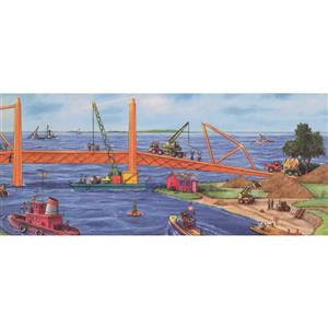 Retro Art Kids Construction Project by Sea Bridge Wallpaper
