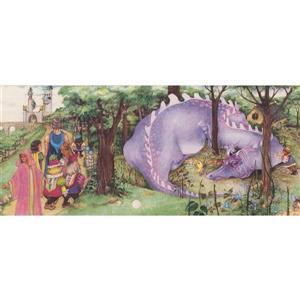 Retro Art Kids Medieval Castle and Dragon Wallpaper - Purple