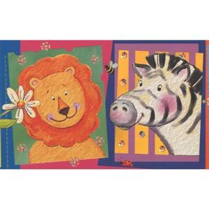 Retro Art Faux Cartoon Animal Pictures Wallpaper Border