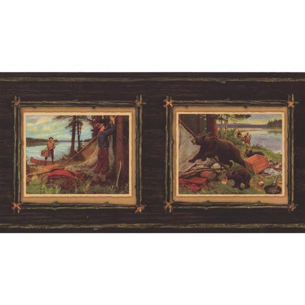 Retro Art Vintage Hunters Paintings Wallpaper Border - Brown