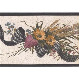 Retro Art Vintage Sunflower Bouquet Wallpaper - Cream