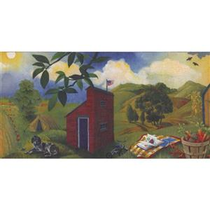 Retro Art Country Side Vegetable and Fruit Wallpaper Border