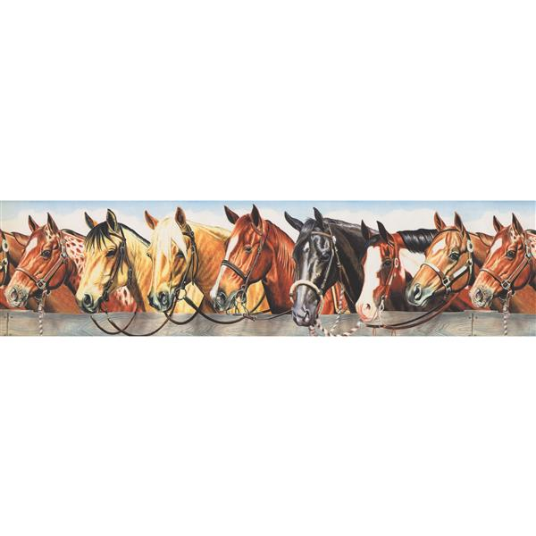 Retro Art Vintage Horses in Stable Wallpaper Border