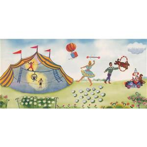 Retro Art Kids Cartoon Circus Tent Wallpaper Border