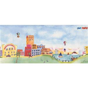 Retro Art Cartoon Town on the Lake Wallpaper Border