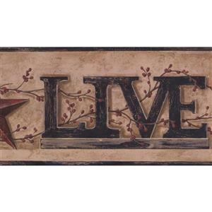 York Wallcoverings Live, Laugh and Love Wallpaper Border - Light Brown