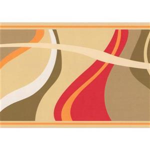 Retro Art Abstract Waves Wallpaper Border - Brown/Beige