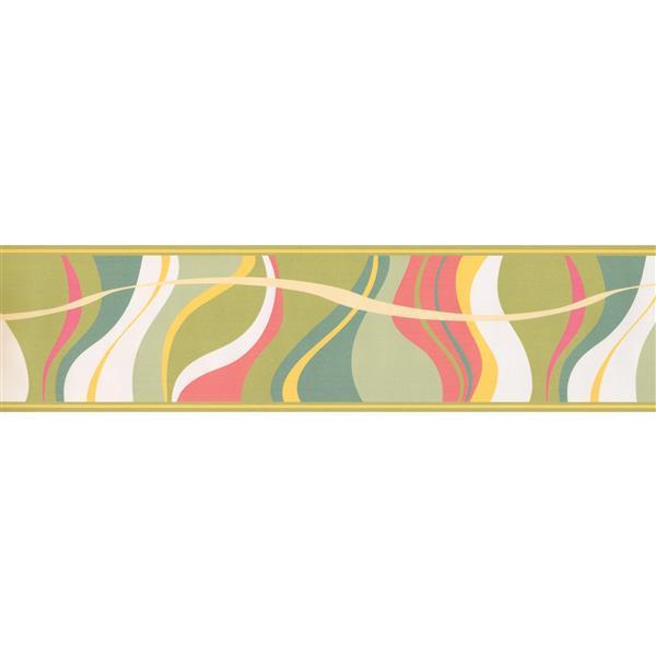 Retro Art Abstract Waves Wallpaper Border - Multicoloured