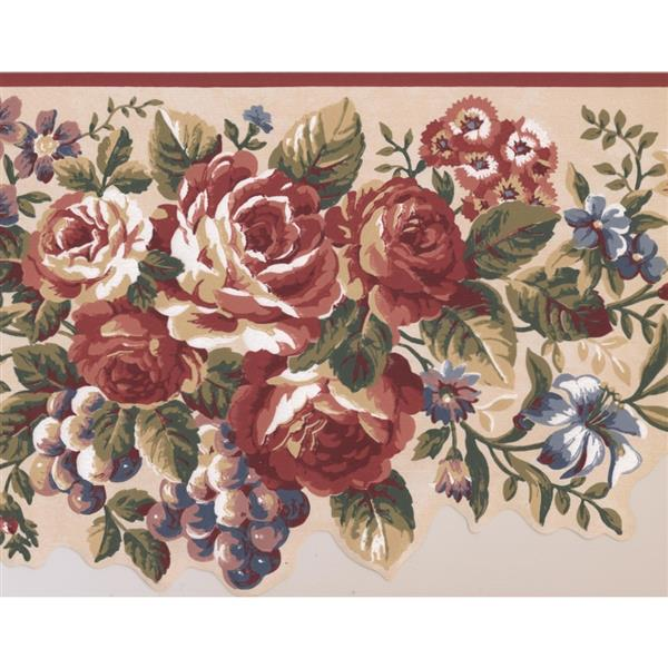 Retro Art Flowers and Grapes Wallpaper Border - Multcioloured