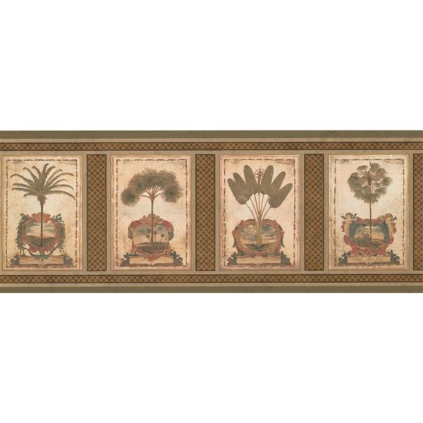 Retro Art Vintage Square Palm Trees Wallpaper Border