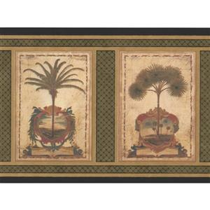 Retro Art Vintage Square Palm Trees Wallpaper Border