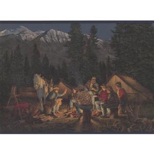 Retro Art Mountain Night Camp Wallpaper Border - Blue/Grey