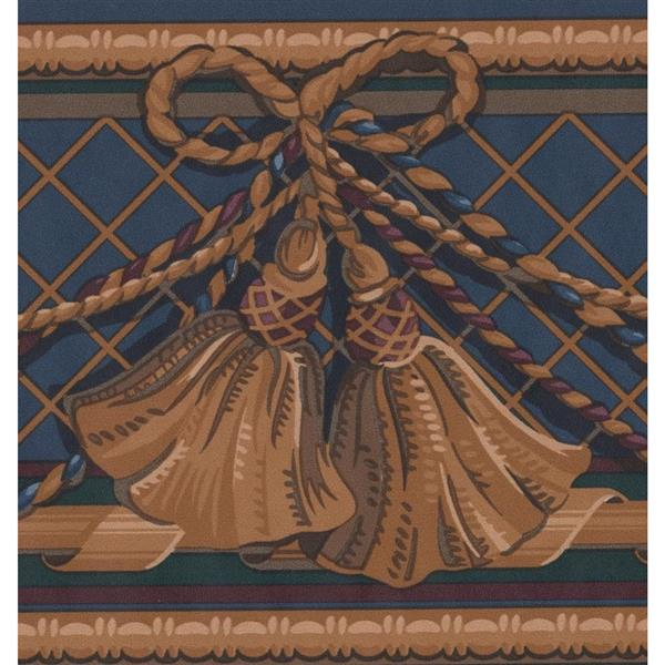 Retro Art Curtain Traditional Wallpaper Border - Brown/Blue
