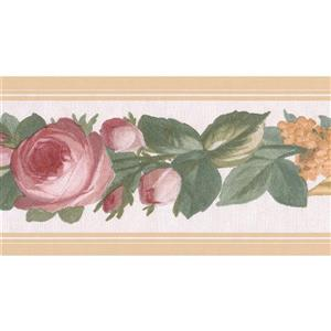 Retro Art Roses Floral Wallpaper Border - Pink