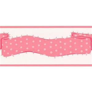 York Wallcoverings Stripes Wallpaper Border - Pink/White