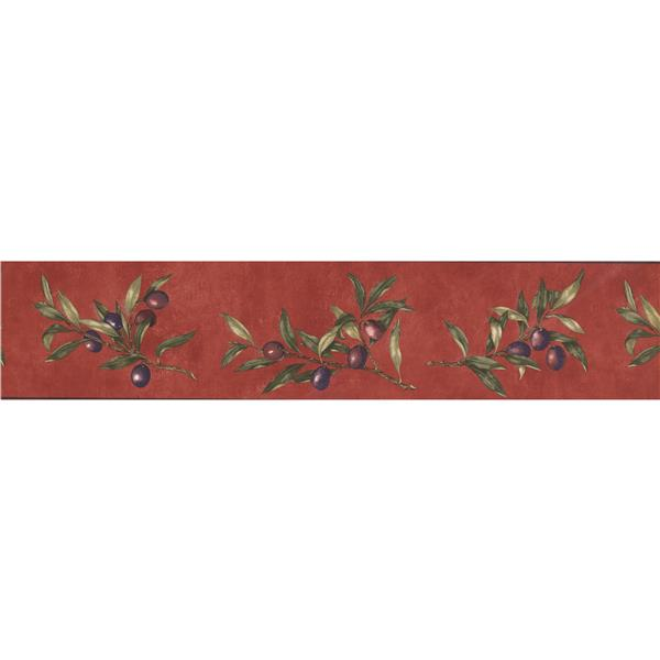 Norwall Retro Berries on Vines Wallpaper Border - Purple