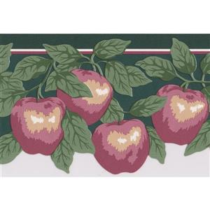Retro Art Apple Wallpaper Border Roll - 15' - Red