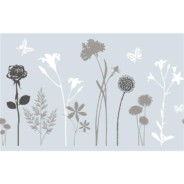 """Film autocollant pour fenêtres, 17""""x59"""", fleurs"""