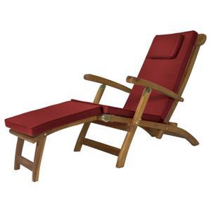 Chaise longue inclinable en Teck avec Coussin Rouge