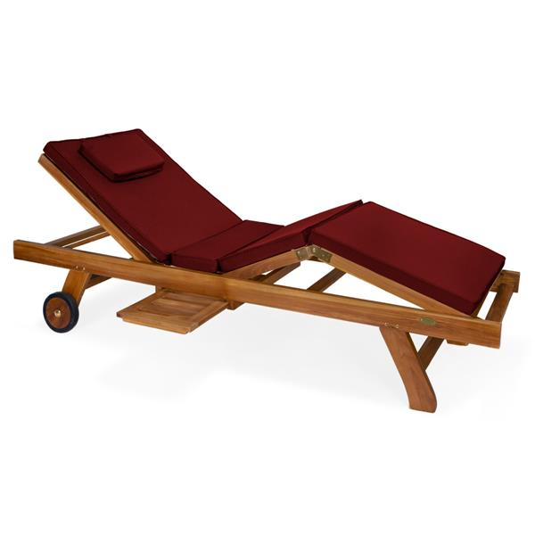 Chaise longue All Things Cedar en teck, Coussin rouge