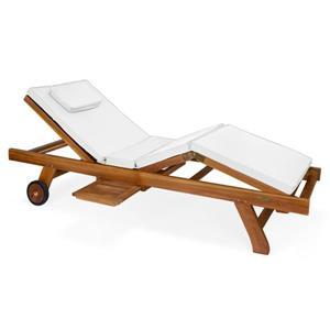Chaise longue All Things Cedar en teck, Coussin blanc