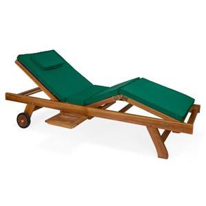 Chaise longue All Things Cedar en teck, Coussin vert