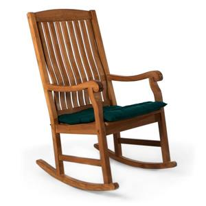 Chaise berçante en teck All Things Cedar, Coussin vert
