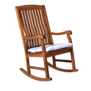 All Things Cedar Teak Rocker Chair - White Cushion