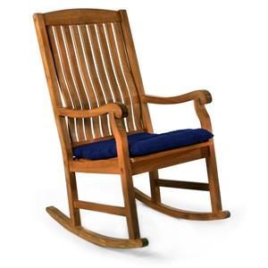 All Things Cedar Teak Rocker Chair Blue Cushion