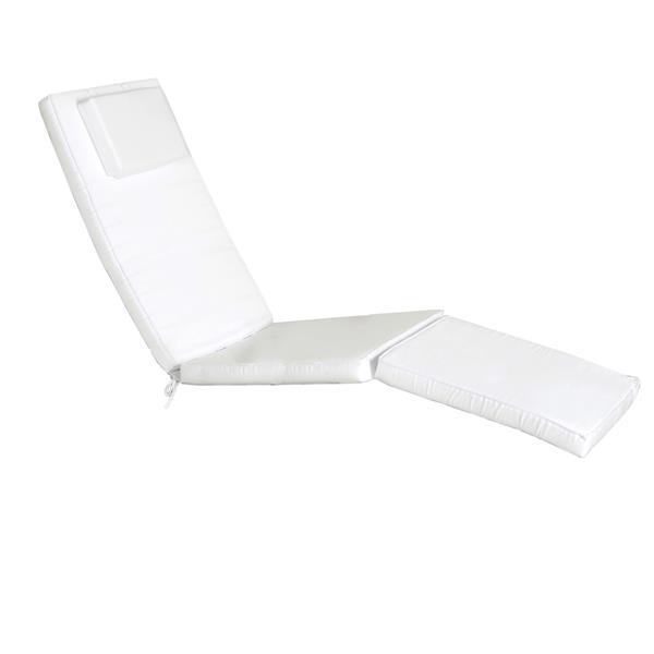 Chaise longue style croisière en Teck, Coussin Blanc