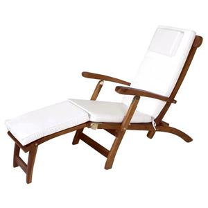 All Things Cedar Teak Steamer Chair White Cushion