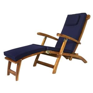 All Things Cedar Teak Steamer Chair Blue Cushion