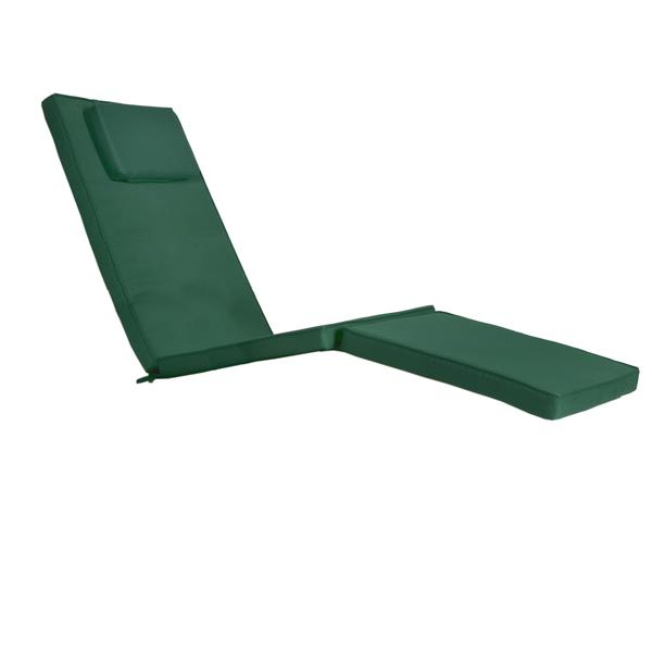 Chaise longue style croisière en Teck, Coussin Vert