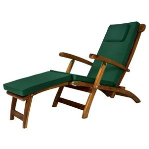 All Things Cedar Teak Steamer Chair - Green Cushion