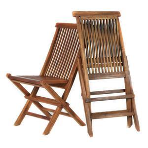 Chaise pliante en teck, Coussins blancs, Ensemble de 2