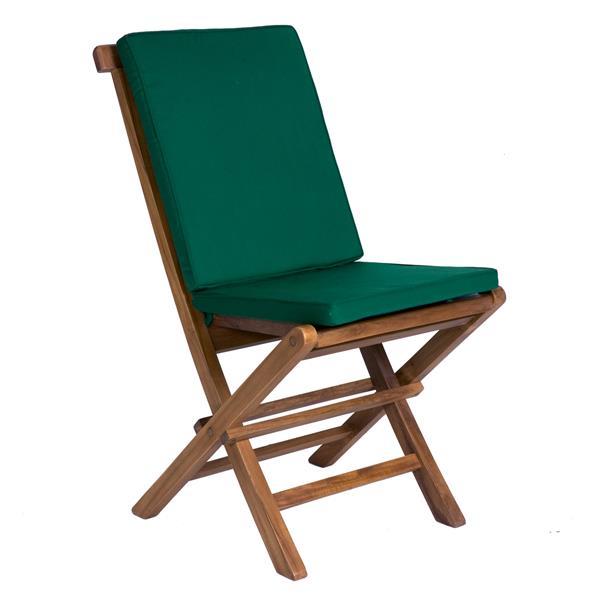 Chaise pliante en teck, Coussins verts, Ensemble de 2