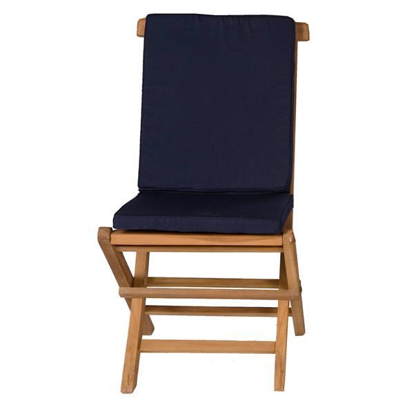 Chaise pliante en teck, Coussins bleus, Ensemble de 2