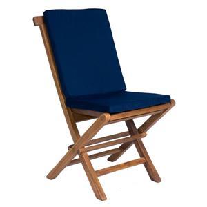 All Things Cedar Teak Folding Chair - Blue Cushion