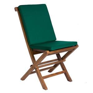 Chaise pliante en teck All things Cedar, Coussin vert