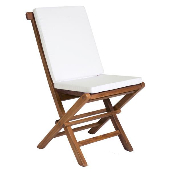 Table ronde et 4 chaises en teck, Coussins blancs inclus