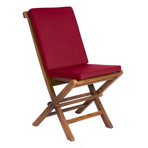 Table ronde et 4 chaises en teck, Coussins rouges inclus