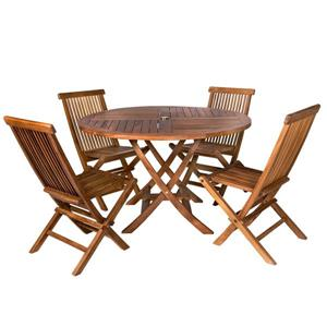 All Things Cedar 5-Pc Round Folding Set All Things Cedar - Red Cushion
