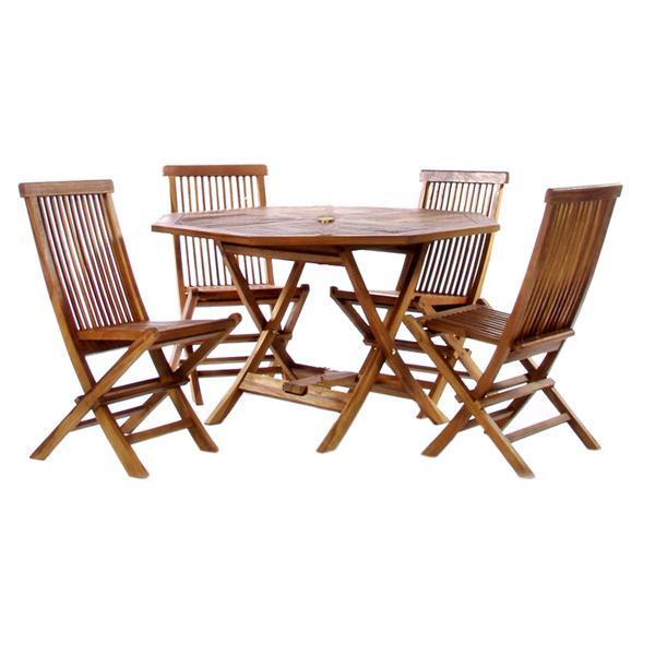 Table octogonale et 4 chaises en teck, Coussins rouges