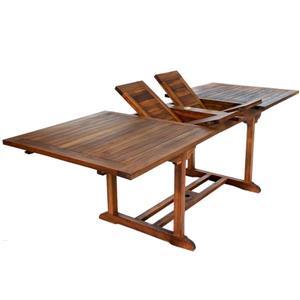 All Things Cedar 6 Teak Extension Folding Chair Set - 1 Table - White Cushion