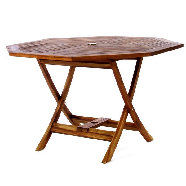 Table Octagonale et 4 chaises pliantes, Coussin bleu