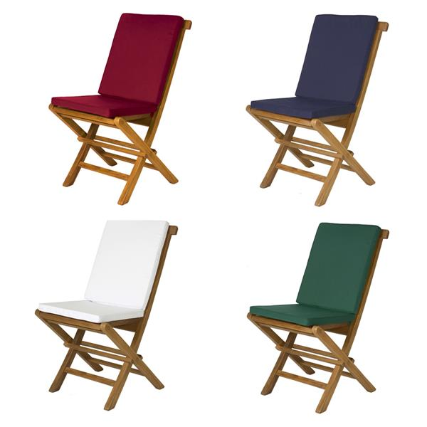 All Things Cedar 8 Teak Extension Folding Chair Set and 1 Table- Red Cushion