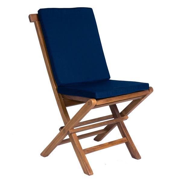 All Things Cedar 8 Teak Extension Folding Chair Set and 1 Table- Blue Cushion