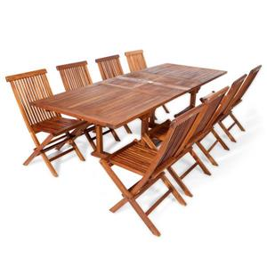 All Things Cedar 8 Teak Extension Folding Chair Set and 1 Table- Blue Cushion