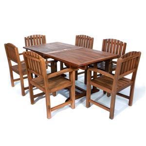 Ensemble de 6 chaises et 1 table en teck, coussin blanc