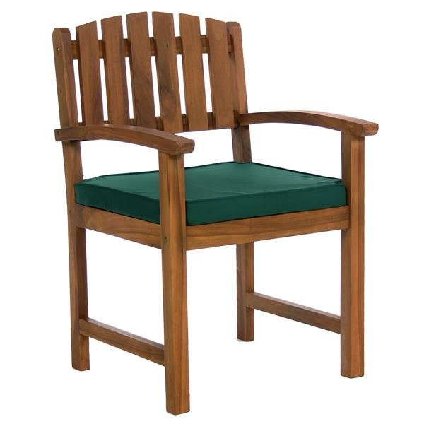 Set of 6 chairs and 1 teak table - Green cushion